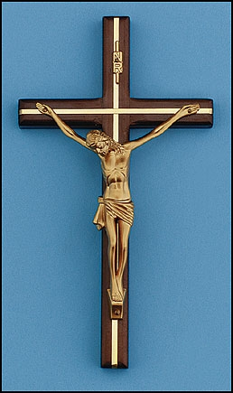 "8"" Wood/Brass Crucifix Walnut - 3/pk"