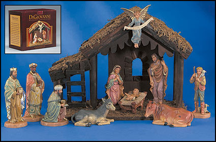 10-Pc Nativity Set with Wood Stable