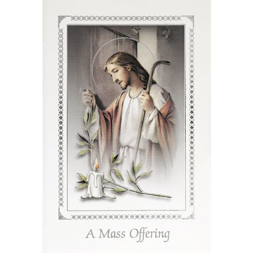 Christ Knocking Mass Card - 50/pk