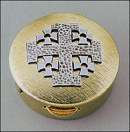 Pewter & Brass Jerusalem Cross Pyx