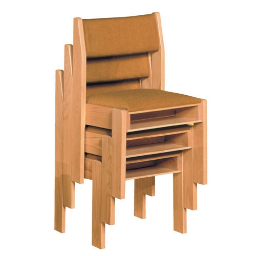 Upholstered Stacking Chair with Front and Rear Under seat Book Rack