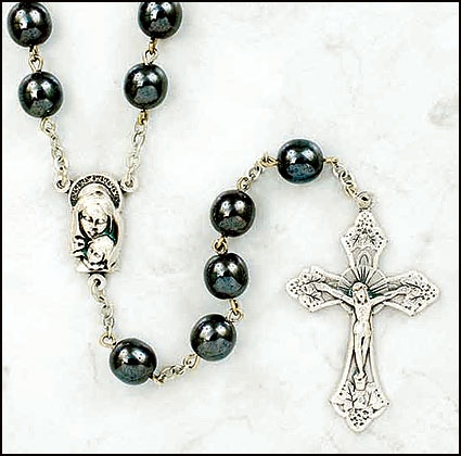 Madonna and Child Hematite Rosary