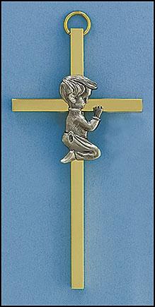 "4"" Baby Boy Brass Cross - 6/PK"