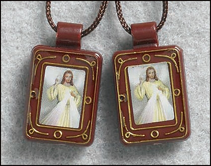Divine Mercy Moulded Scapular - 12/pk
