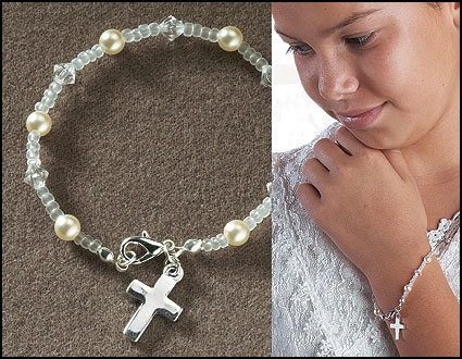 First Communion Beaded Bracelet