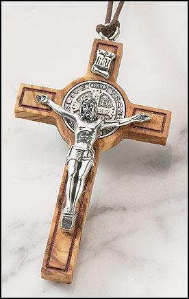 Olive Wood St. Benedict Cross