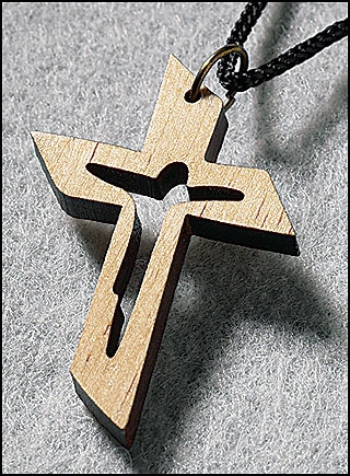 Wooden Cut Out Crucifix Pendant - 24/pk