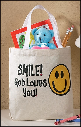Smile, God Loves You Tote Bags - 12/pk