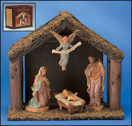 4-Pc Nativity Set with Wood Stable
