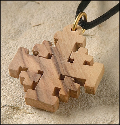 Olive Wood Jerusalem Cross Pendant