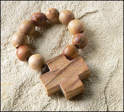 Olive Wood Rosary Ring - 12/pk