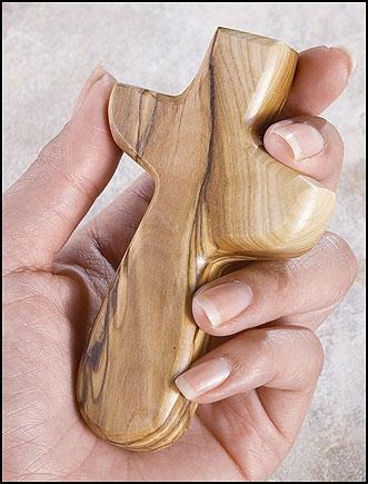 Olive Wood Hand Cross - Pocket Size