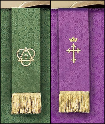 Jacquard Reversible Bookmark with Cross: Purple/Green