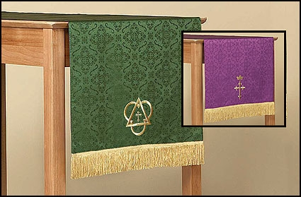Jacquard Reversible Table Runner with Cross: Purple/Green