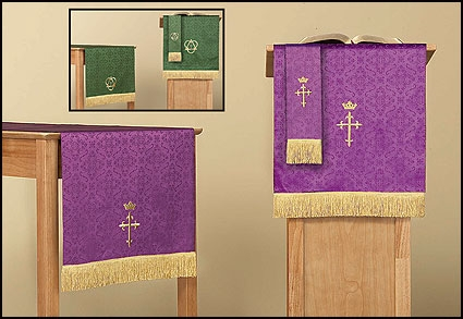 Jacquard Reversible Three Piece Parament Set: Purple/Green