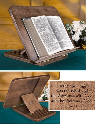 Bible/Missal Stand with Silk-Screened Verse - Antique Maple