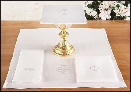 Jerusalem Cross Altar Linen Set - Poly/Cotton Blend