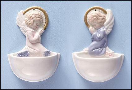 Praying Angel Holy Water Font Assortment (2 Asst) - 12/pk