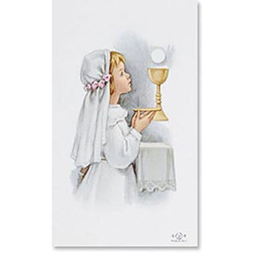 Girl Communion Blank Back Holy Card