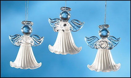 Pearlized Glass Angel Ornament Assortment