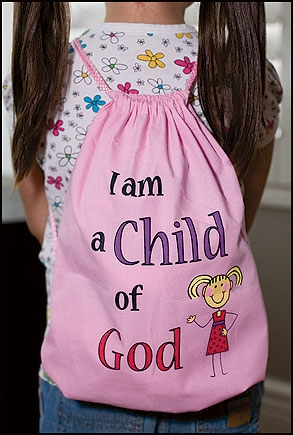 I am a Child of God Drawstring Backpack - Pink -12/pk