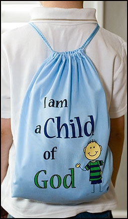 I am a Child of God Drawstring Backpack - Blue -12/pk