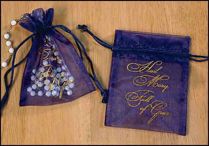 Hail Mary Full of Grace Organza Rosary Bag - 36/pk