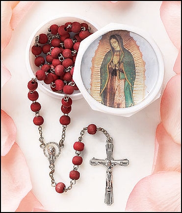 Our Lady of Guadalupe Rose Scented Rosary with Two-Piece Case - 12/pk