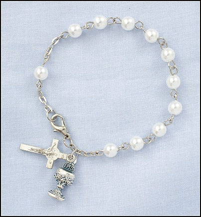 First Communion Imit. Pearl Rosary Bracelet - 12/pk