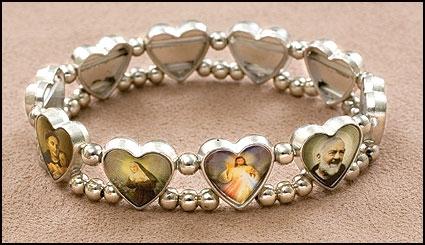 Heart Saints Medal Stretch Bracelet - 12/pk