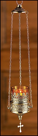 Sanctuary Lamp with Amber Votive Glass and Hanging Cross