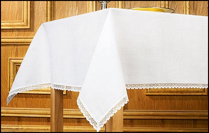 Lace-Trimmed 100% Linen Altar Frontal