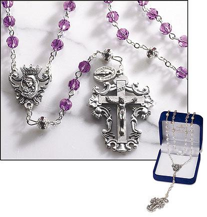 Amethyst Diamond-Cut Crystal Rosary