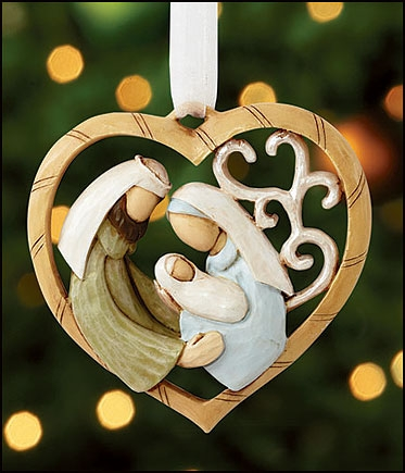 Nativity Heart Ornament - 6/pk