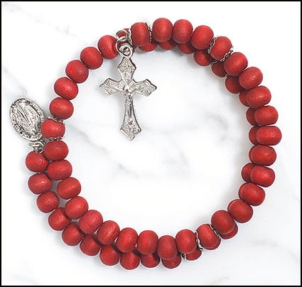 Rose Scented Wrap Style Rosary Bracelet - 24/pk