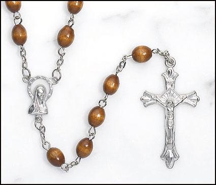 Caramel Brown Wood Rosary - 12/pk