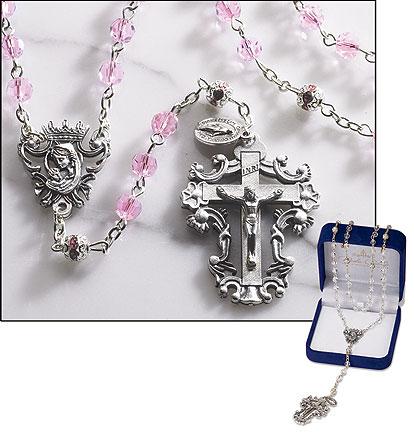 Pink Diamond-Cut Crystal Rosary