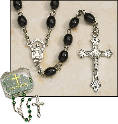 Black Oval Rosary2-pc Plastic 'My Rosary' Box/Silver Plate