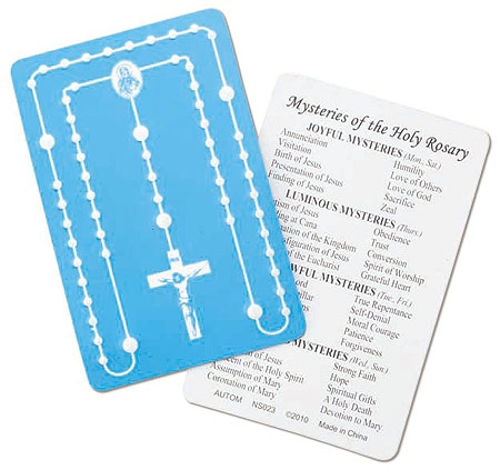 Mysteries of the Rosary Embossed Card - 50/pk
