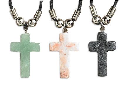 Stone Cross Pendant Assortment (3 Asst) - 12/pk