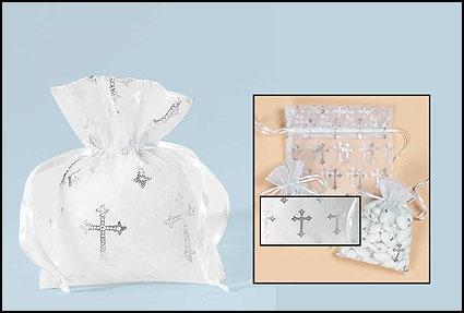 Small Cross Organza Gft Bag - 50/pk