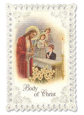 Kneeling Boy First Communion Lace Holy Card - 24/pk