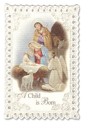 Nativity with Angel Christmas Lace Holy Card