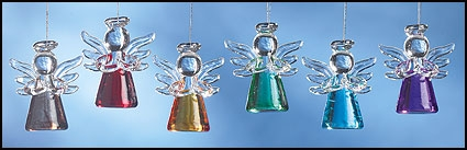 Mini Colored Glass Angel Ornament Assortment