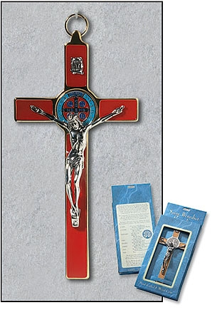 Red St Benedict Wall Crucifix