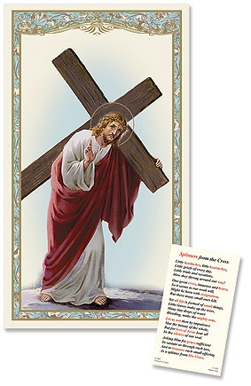 Christ with Cross Laminated Holy Card