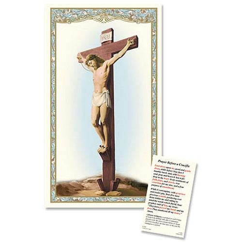 Crucifixion Laminated Holy Card - 25/PK