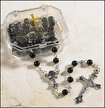 Black First Communion Rosary - 4/PK