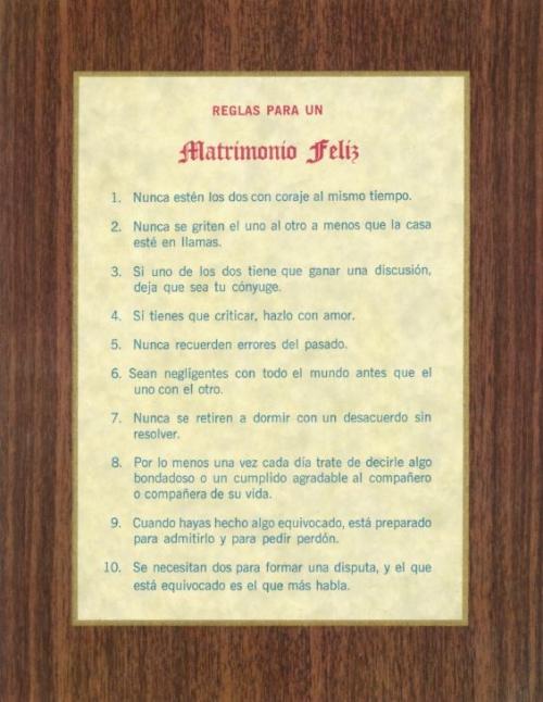 Reglas Para Un Matrimonio Felz - Print