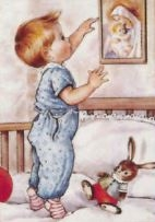 Little Boy Adoring Blessed Mother- Print
